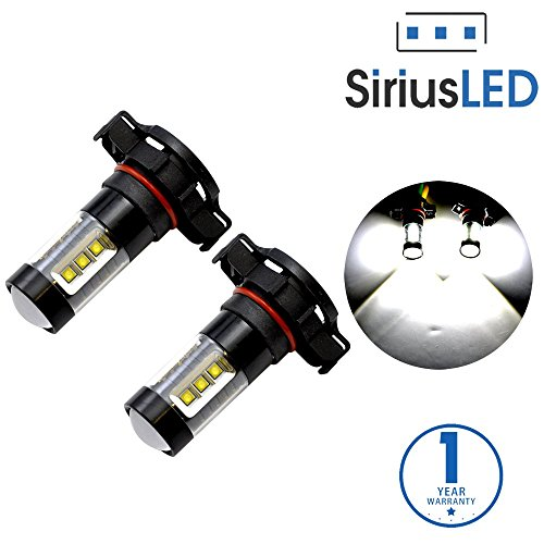 SiriusLED Extremely Bright 80W High Power LED Bulbs with Projector for Fog Lights Daytime Running DRL Driving H16 5202 5201 2504 9009 PSX24W 6000K Xenon White (Chevy Cruze Fog Light Bulb compare prices)