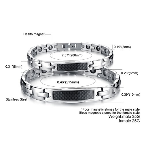 Fate Love His & Her Matching Set Carbon Fiber Magnetic Energy Bracelets,Health Care Link Chain for Couple by Fate Love (Image #1)