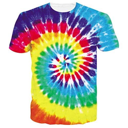 Men's Short Sleeve T-Shirts Funny Pattern Neon Rainbow Tie Dye Paint Print Casual Graphic Tees Cute Summer Tops Clothing (Neon T-shirt Swirls)
