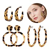 XOCARTIGE 3PCS Acrylic Hoop Earrings Set Mottled Resin Dangle Earrings Statement Circle Stud Earrings for Women (K 3PCS Leapard)