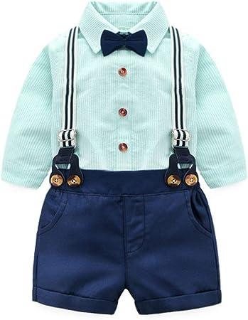 HSAW Bebés Juego de Ropa Chicos Rayado Verde Pajarita Camisa + Pantalones Bib Vestido de Dos Piezas para Bebé Niño Ropa (Color : Green, Size : 100cm): Amazon.es: Hogar