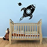 Imprinted Designs Vinyl Wall Decal Sticker Art - Spaceship Rocket and Planet - 22'' x 22'' - Kids Room Wall Art - Children's Bedroom Decor - Boys Nursery Decoration