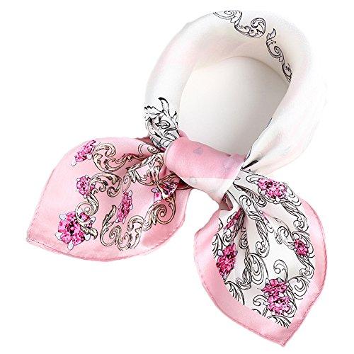 Satin Silk Neckerchief Sundayrose Printed Small Square Scarves (Dimond Flower Pink)