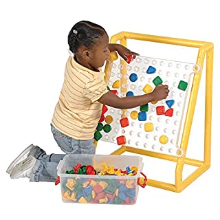 "Constructive Playthings Mega 15 1/2"" sq. Clear Pegboard with 100, 1 1/2"" diam. x 1 1/2"" H. Jumbo Pegs In 3 Simple Shapes That Comes In a Storage Tub; Frame Measures 23 1/2"" H. x 18 1/2"" W. x 13"" D. For Ages 3 Years and Up."