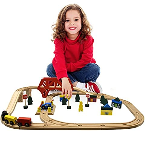 Deluxe Wooden Train Set 50 pcs, Compatible with Most Major Brands Like Thomas the Tank and Brio (Geo Crystals)
