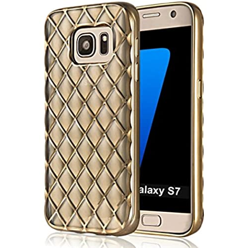 S7 Case, Samsung Galaxy S7 Case, Welity Soft Plating Diamond Lattice 3D Shiny Sparkling Crystal Clear Transparent TPU Silicone Bumper Back Cover Case for Sales