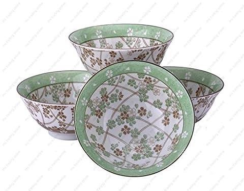 M.V. Trading MVSZ16/LG Light Green with Foral Soup Bowl, 6-Inch, Set of 4 - Light Green Bowl