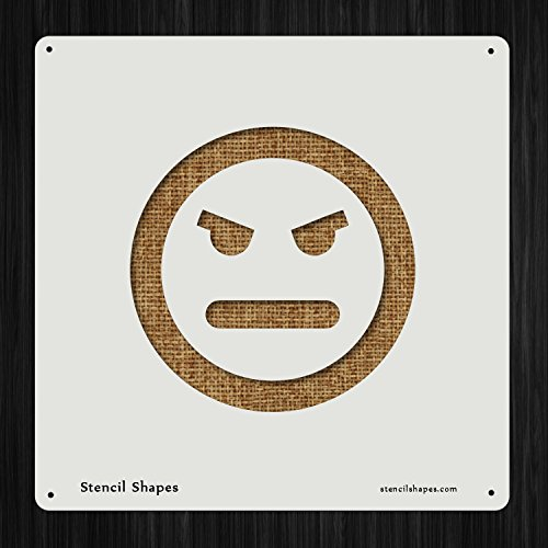 Angry Anger Emoticon Face Mad Smiley, Style 6222 DIY Plastic Stencil Acrylic Mylar Reusable ()