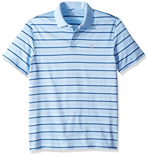 IZOD Men's Golf Prep Stripe Short Sleeve Polo Shirt, Placid Blue, X-Large