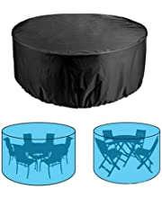 Patio Furniture Cover Outdoor Waterproof Round Table Chair Dustproof Cover for Garden Balcony Rooftop, 185X110cm