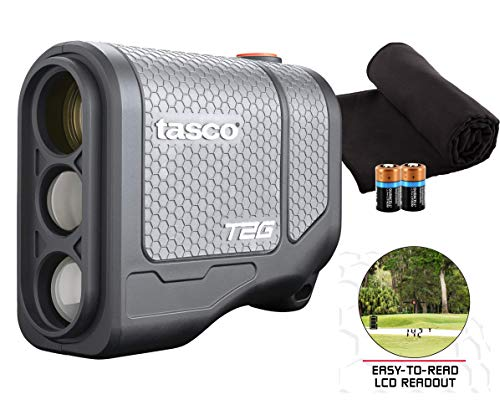 Tasco Tee-2-Green (Standard Version) Golf Laser Rangefinder PlayBetter Pack | 2019 Release | 5X Mag, 1 Yard Accuracy, Scan Mode, Case (+Microfiber Towel & Two CR2 Batteries)