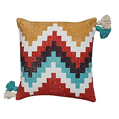 ThymeHome Urban Kilim PrintedHand Woven Dhurri Pillow :- 100% Cotton Decorative Accent Pillows 18 x 18 Inch Multicolor - Cotton pillows:- 100% pure cotton pillow covers, these throw pillows are ultra-soft and fluffy. These throw pillows made with natural eco-friendly materials. Comfy and fluffy pillows not used for sleeping but are decorative. Decorative throw pillows:- This is an attractive throw pillows that has a versatile style that could go with a wide range of pillow décor.These decorative throw pillows are suitable for all areas of home including sofas, chair, benches, bed, and couches. And our Decorative outdoor pillows are used for garden, balcony, living room, bedroom, party, office and wedding. Easycare throw pillows:- Removable pillow covers makes it easy to clean. Smooth and durable ykk zipper allows easy insertion and removal of pillow cover. Special design of pillow cases make it easy to clean and are washable or allow to air dry. - living-room-soft-furnishings, living-room, decorative-pillows - 51D6ZUN1%2BTL. SS400  -