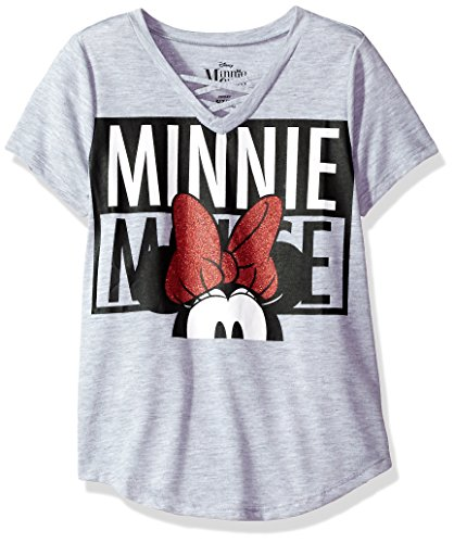Disney Shirts For Girls (Disney Big Girls' Minnie Mouse Criss-Cross T-Shirt, Heather Grey, 12)