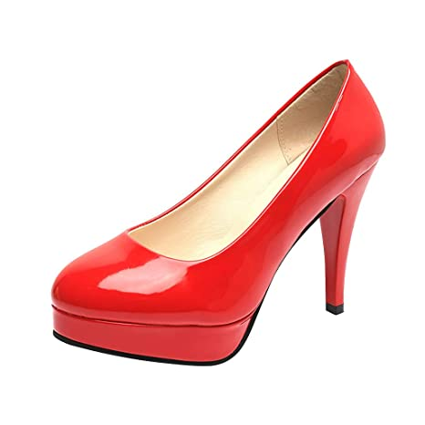 buy popular b4c0d dc1cb Amazon.com: Copercn Women's Ladies Patent Leather Solid ...