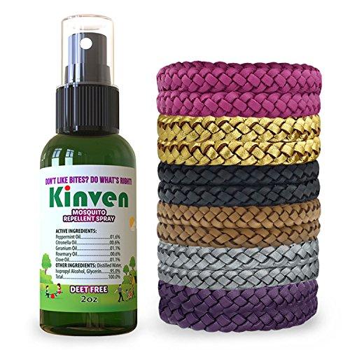 (Kinven Anti Mosquito Repellent Bundle - Repel Mosquitoes with Bracelet & Spray, Waterproof, Natural, DEET-Free, Indoor & Outdoor Protection for Adults & Kids (2oz Bottle + 12 Bracelets,)
