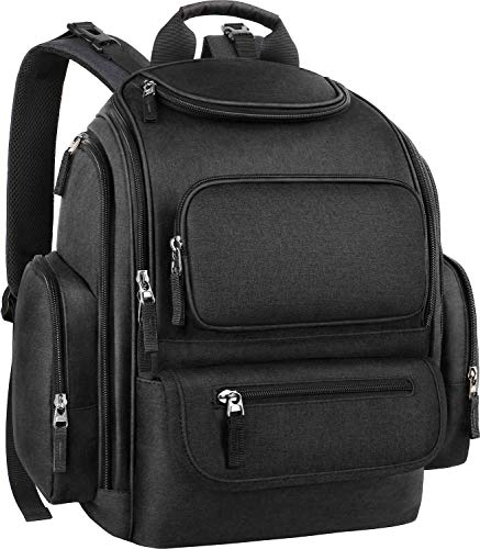 Diaper Bag Backpack, Dad Large Baby Diaper Bag Big Travel Baby Bag with Stroller Straps for Girls Boys Mom, Multifunction and Water-resistant, Black
