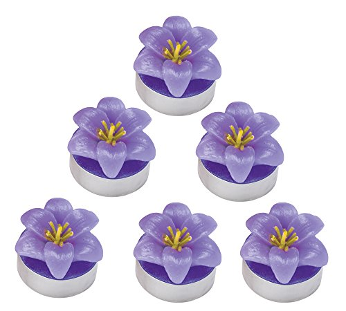 Tealight Candles - Unscented, Flower Shaped Candles, Purple Violet Mini Tea Lights Set of (Flower Shaped Floating Candles)