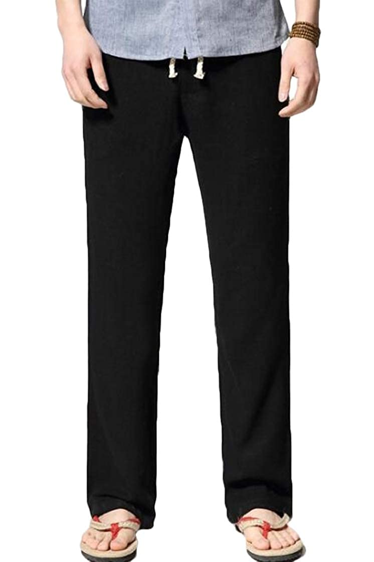 YYear Mens Lightweight Loose Fit High Rise Summer Linen Lounge Pants Trouses