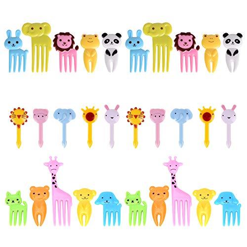 GO FRESH Food Picks For Kids, 30 pieces Animal Bento Deco Set, Mini Bento Decorations Set for Baby Showers and Kids Parties, Mini Cartoon Toothpick, Bento Lunch Deco ()