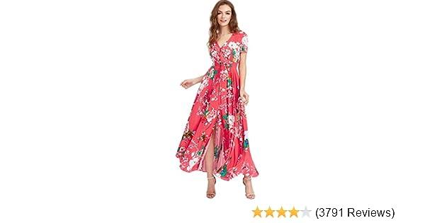 0e98c9c61cbce Milumia Women Floral Print Button Up Split Flowy Party Maxi Dress