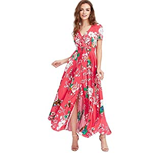 Milumia Women s Button up Split Floral Print Flowy Party Maxi Dress ... 3204e3922