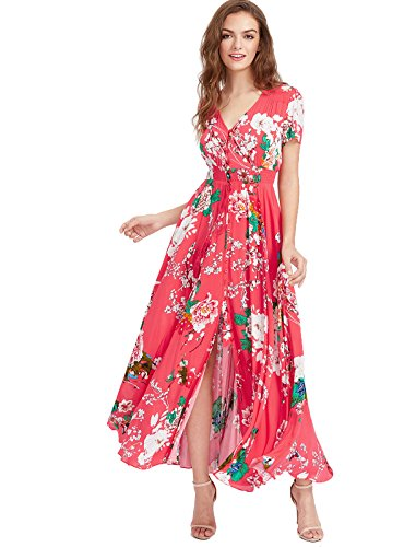 Milumia Women's Button Up Split Floral Print Flowy Party Maxi Dress Large Red