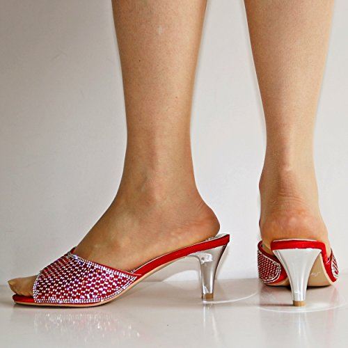 Rock on Styles Ladies Party Diamante Low Kitten Heel Wide Feet Shoes Sandals Plus Sizes-A 241 Red eseJDn6x