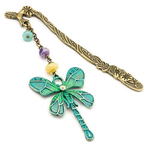 Antique mint green patina brass dragonfly unique metal bookmark