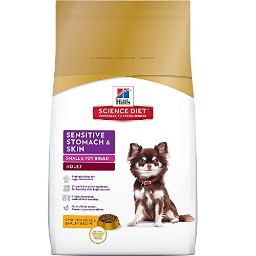 Hill's Science Diet Adult Sensitive Stomach & Skin Dog Food, Small & Toy Breed Chicken Meal & Barley Recipe Dry Dog Food, 15 lb Bag