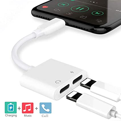 Audio+Charge+Volume Control+Call Headphone Jack Adapter Splitter for iphone Headphone adaptor for iPhone 8//8 Plus//X 7//7 Plus//Xs//Max//XR Dongle Earphone Connector iOS 12 Higher for iPhone Headset