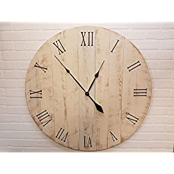 Large Wall Clock – 36 Inch Diameter – Rustic White Wooden Clock by Yankee Woodworks