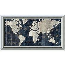Canvas Art Framed 'Old World Map Blue' by Wild Apple Portfolio