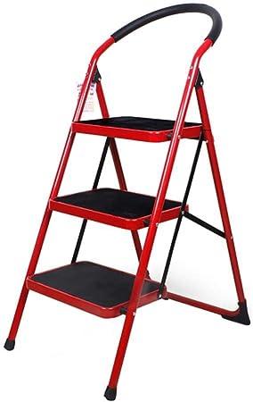 XITER 2/3 Paso Espesar Escaleras Muebles Escaleras Plegables Escaleras Interiores Escalera Taburete pequeño Paso Hierro Taburetes livianos (Color : Rojo, Tamaño : 3 Floors): Amazon.es: Hogar