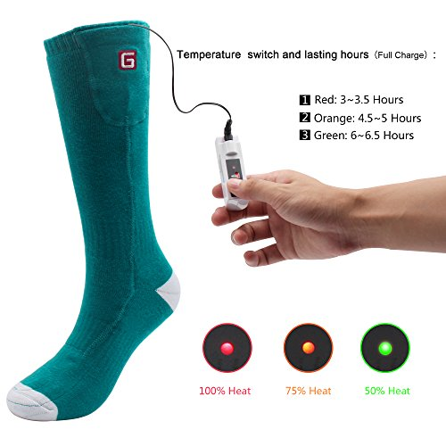 Autocastle Electric Heated Socks,Rechargeable Battery Powered Heating Socks for Men Women,Sports Outdoors Winter Warm Socks Kit for Chronically Cold Feet,Camping Hiking Climbing Foot Warmer
