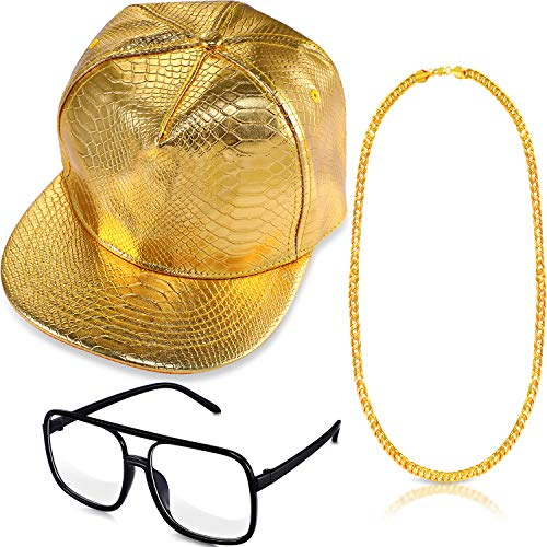 3 Pieces 80s 90s Hip Hop Costume Set Snapback Baseball Cap Hip Hop DJ Sunglasses and Faux Gold Chain for Rapper Outfits ()