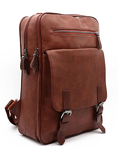 Vintage PU Leather Piper Backpack,13''Latop Casual Vacation Jumbo Unisex Bookbag,Brown - Executive Sling
