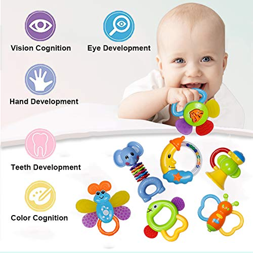 Baby Rattle Sets Teether Rattles Toys, 8pcs Babies Grab Shaker and Spin Rattle Toy Early Educational Toys with Owl…