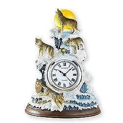 Winter Wolf Table Clock Décor