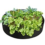 Mokylor 100-Gallon Extra Large Raised Bed, Round Grow Bag Diameter 50'' Height 12'' Made Of Growth Friendly Felt for Nursery Garden and Planting Grow (Black)