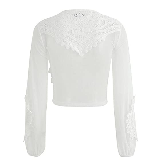eaef4c296e134 Amazon.com  Kasenxet Women See Through Lace Mesh Sheer Long Sleeve Crop Top  Shirt Blouse Tee Sexy  Clothing