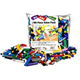 """Building Bricks - 1000 pc """"Big Bag of Bricks"""" Bulk Blocks with 54 Roof Pieces - Tight Fit with All Major Brands"""