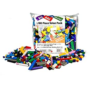 Building Bricks - 1000 pc Bulk Blocks w 54 Roof Pieces and Better Variety - Tight Fit with All Brands including Megabloks and Lego - 51D6d rp0cL - 1000 pc Classic Building Bricks – More Large Pieces Than Competitors Plus 54 Roof Pieces – Tight Fitting and Compatible with All Brands