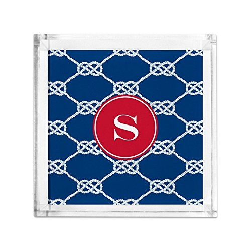 Boatman Geller Nautical Knot Petite Lucite Tray with Single Initial, T, Multicolored