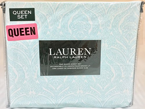 Ralph Lauren 4 Piece Queen Sheet Set Light Aqua Blue Floral