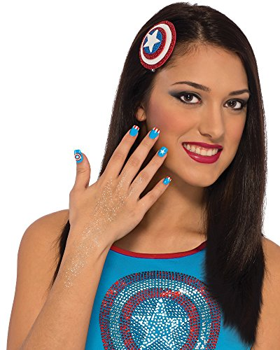 [Rubie's Costume Co Women's Marvel Universe American Dream Hair and Nails Kit, Multi, One Size] (Girl Marvel Character Costumes)