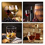 Wall Art for kitchen Still life wine cup glass grape fruit Canvas Prints bedroom Wall Decor for dining room 12'' x 12'' 4 Pieces painting Decor Modern Salon office Home decorations artwork Painting