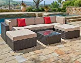 SUNCROWN Outdoor Patio Furniture Set (7-Piece Set) All-Weather Brown Wicker Patio Sectional Sofa Brown Washable Cushions & Modern Glass Coffee Table | Backyard, Pool & Waterproof Cover