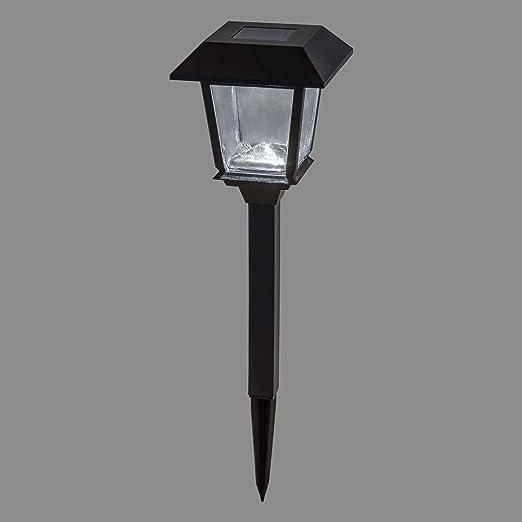 Baliza solar de jardín con farolillo cuadrado, 48,5 cm, LED luz fría, luces de exterior, focos de jardín, luces solares: Amazon.es: Hogar