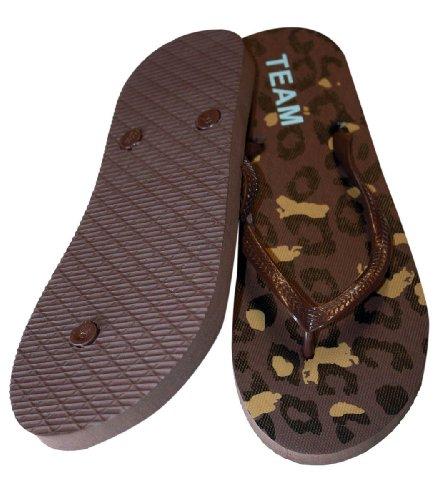 Casual Strand Slippers Voor Vrouwen Met Luipaard Print, Zacht Voetbed Bruin