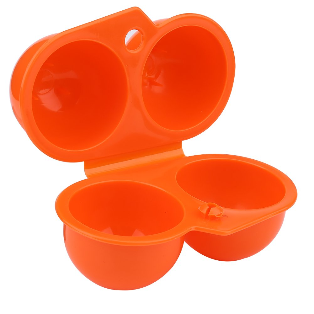 Orange 2 pcs Portable Egg Storage Eggs Holder Box Container Hiking Outdoor Camping Carrier For 2 Egg Case